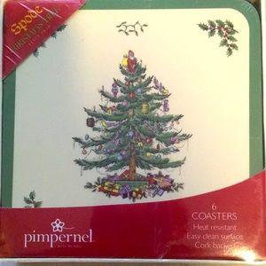 6- Spode Christmas Tree Coasters Cork Back
